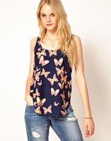 2015 European Style Women Chiffon Shirt Vest Short Printing O-neck Pullover Sleeveless Summer Spring Slim Tops Blouse CL2440