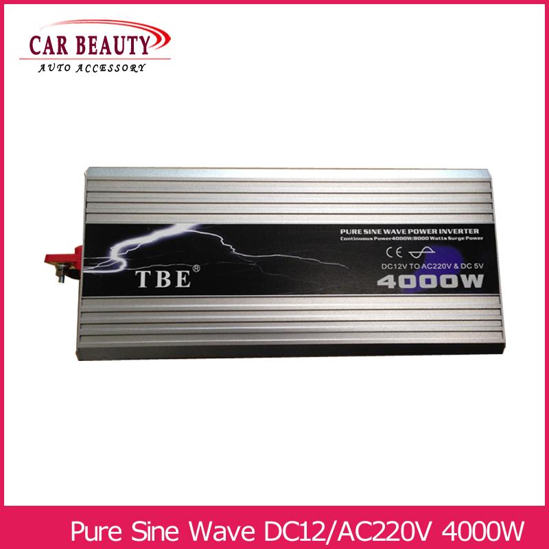 Power Inverter 4000W Pure Sine Wave Inverter DC 12V to AC 220V Car Converter Solar Power Inverter Peak Power 8000W(China (Mainland))