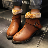 2014 thick heel martin boots fashion buckle boots cotton boots back zipper single boots women's shoes