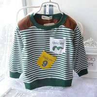 2015 New Free Shipping Spring Children Stripe Hoddies Kids 0-2T Long Sleeve Sweatshirts Cute Coat Baby Boy Sweatshirts
