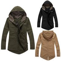 New 2014 Men Male Autumn Winter Fashion Hoodies Slim Jacket Outwear Tuxedo Cotton Casual Coat 3 Color Size L-XXL Free Shipping