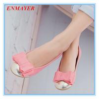 ENMAYER leisure round toe soft bottom single shoes sweet bowtie patchwork women flats blue black pink casual shoes for women