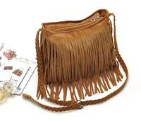 2015 New Faux Suede Women Handbag Punk Rock Fringe Tassel Handbag Shoulder Bag Tote Satchel
