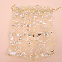 Wholesale Hotsale 300pcs/lot Yellow Heart Pattern Organza Pouch Gift Bags Fit Wedding&Festival&Party Decoration 34*16.5cm 120473