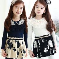 2015 Children Spring Bow Mesh Layer Collar Dress Girls Floral Pattern Dresses Kids Clothing 5 pcs/lot, Wholesale