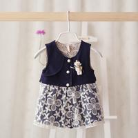 2015 New baby girls embroidered vest dress children princess dress floral blue 6 pcs/lot wholesale 2052