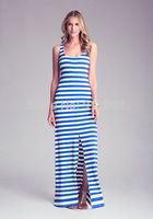 Sexy stripe party slim dress  wholesale  Split dress