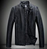 New Mens jackets short Slim collar motorcycle leather jacket coat