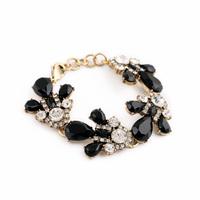 Pulseira Wholesale 2015 New Design Black Resin Leaves Bracelet Charming Costume Jewlelry