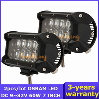 2PCS/LOT 7 inch 60W OSRAM LED Work Light Bar Car DC9~32V Pickup SUV UTV Truck Flood/Spot Beam SUV 4x4 4WD Offroad Light 6000lm