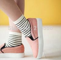 20pcs=10pairs White striped cotton socks student thick winter socks in tube socks