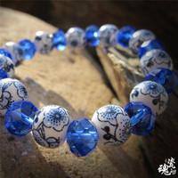Crystal ceramic bracelet ceramic jewelry wholesale factory direct blue crystal national wind