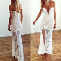 2015 New Summer Sexy Ladies Low Cut Lace Floral Evening Party Womens Split Slim Long White V Neck Dresses Plus Size M L XL