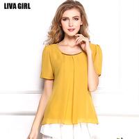 Chiffon blusas 2015 Summer Casual Women Clothing Sequins Loose Fit Ruffle Hem Shirts Women Tops femininas plus size S-XXXL