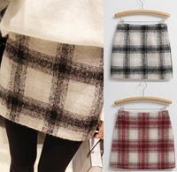 2014 retro saia plaid skirts womens tutu woolen slim tropical mini short vintage Pencil cropped skirt for women vestidos faldas