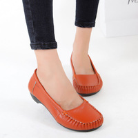 Hot 2014 Casual Shoes woman Solid round toe slip on genuine leather comfortable shoes female single shoes black DH6 size 40