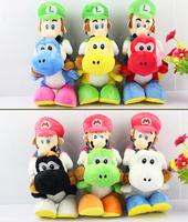 Free Shipping 1pc 20cm 6styles Super Mario Bros Plush Toys mario luigi riding yoshi With Tag high quality gift