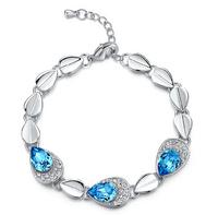 18+chian 5 cm crystal droplets bracelet Women Peacock bracelet Jewelry Free shipping