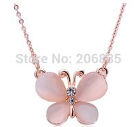 Fashion Cat Eye Stone Butterfly Necklace Flying Butterfly Pendants For Women