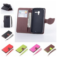 Magnetic Leaf Pattern Pu Leather for Motorola X Wallet Case for Moto X Flip Cover Stand Card Slot Free Shipping