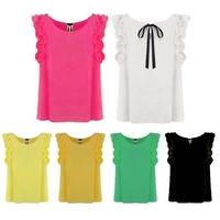 New 2015 Spring Women's Back Ties Chiffon Shirts Fashion Tops Women Shirts blusas femininas More Colors Blouse