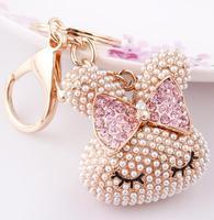 Cool Hee Korean-style jewelry ornaments key creative new ideas bunny key chain bag full of pearl ornaments
