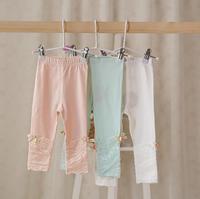 2015 New,baby girls cotton leggings,lace,flower,3 colors,5 pcs/lot,wholesale kids clothing,2053