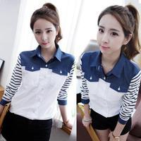 New Femininas Women Long sleeve Korea Color Block Jean Shirt Striped Long sleeve Blouse Blusas Tops size S-XL