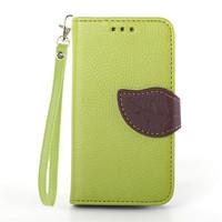 Cute Leaf Design Flip Leather Case for Samsung Galaxy s3 mini i8190 Card Slot Wallet Cover Fundas Capa Para s3 mini + Lanyard
