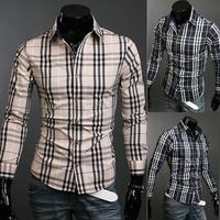 Mens Plaid Shirt Long Sleeve Mens Casual Shirts Cotton Mandarin Collar Antumn Casual Outwear Slim Fit Shirts Wholesales
