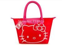 6PCS/LOT Freeshipping 38.5cmX43cm Women Pu Leather Handbag For Hello kitty Zipper Tote Bag Phone Pocket Handbag Makeup Bags KT5