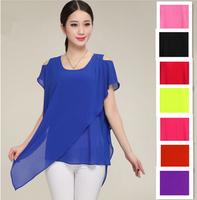 2015 New women tropical Asymmetric chiffon shirts blouse, vestidos femininos,blazer women,plus size cheap clothes china S-5XL