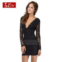 ECW Lace Women Dress Fashion Evening Dresses Slim Hollow Sleeve V-Neck Zipper Stitching Sexy Dress Backless Party Dress