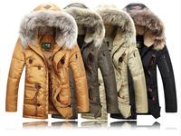 Hot ! 2014 New BRAND Down Jacket Winter Jacket Men Coat 85% White Duck Long Thicken Outwear Hooded Real Fur Men's Parka Big Size