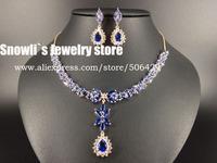2015 new fashion Romantic Aegean Sea blue water drop zircon Wedding Necklace Earrings set,bride,dinner dressing jewelry S14049