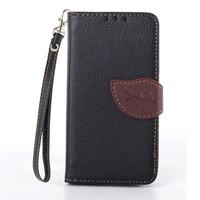 Cute Leaf Design Flip Leather Case for Samsung Galaxy s5 mini G800 Card Slot Wallet Cover Fundas Capa Para s5 mini + Lanyard