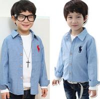 CS36 new 2015 kids clothes boys shirts 3-8 age long sleeve boy shirt children blouse free shipping 5pcs/ lot