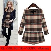 XL-5XL plaid dress women winter dress plus size dresses,fashion big size women clothes loose dress,ropa mujer