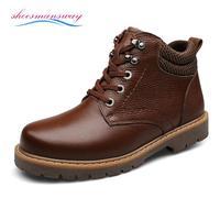 Vintage Mens Fur Lined Boots Designer Winter Leather Snow Boots For Men Online Boots Ankle Botas Size 37 38 39 to 44 45 46 47 48