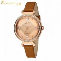 Fashion Casual Luxury Women Wristwatches Genuine Brown Leather Wristband Women Dress Watch,Top Brand Luxury Quartz Watch V1002L