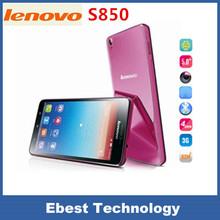 Original Lenovo S850 3G Cell Phone MTK6582 Quad Core Android 4.4 5″ IPS Dual Sim Dual Camera 13.0MP GPS WCDMA White Pink Blue
