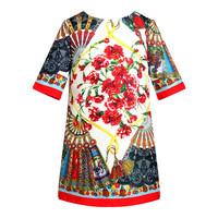 So beautiful~Spring 2015 New  Fan  flower children's dress good quality 7pcs/lot wholesale