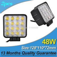 2Pcs/ lot 48W Black Spot LED Off road Square Work Light Lamp 12V 24V SUV ATV Car Truck