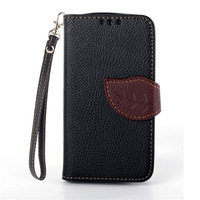 Fashion Leaf Design Flip Leather Wallet Case Cover Fundas Capa Para For Samsung Galaxy S Duos S7562 Trend S7560 Card Slots Cases