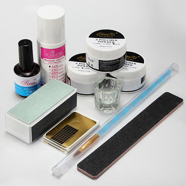 New 1 Set Nail Art Acrylic Powder Pen Brush File Liquid Primer Gel Buf fer Forms Deppen Dish Kits Sets Manicure Tools Hot(China (Mainland))