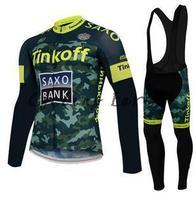 Free shipping! SAXO BANK 2015 Winter long sleeve clothes cycling jersey bib pants bike bicycle thermal fleeced wear set gel pad!