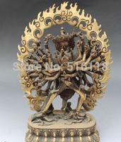 "Free Shipping 11"" Tibetan Buddhism Bronze Vajrayogini Vajravarahi Kalachakra Buddha Statue"