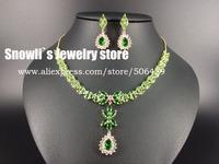 2015 new fashion Romantic Aegean Sea green water drop zircon Wedding Necklace Earrings set,bride,dinner dressing jewelry S14050