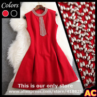 2015 winter spring designer women's dresses red black event dress silver beads beading collar chest fashion vintage brand dress