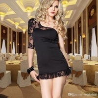 6pcs/lot Ladies One-shoulder Lace Collar Dress With Single Lace Sleeve Night Club Party Pub Apparel PMS6210
